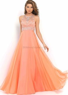 Coral Pink High Neck Beaded Criss Cross Back Chiffon Party Dress