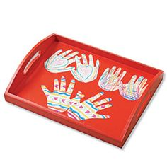 Great idea for a practical gift.  You can even trace handprints on old artwork a child has created.  A good use for something you don't want to throw away!