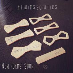 Новые формы деревянных бабочек Twins Bow Ties