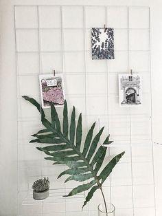 White wire wall grid SHELF CLIPS mood board photo
