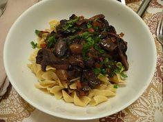 meatless winter dinner party: crostini, mushroom bourguignon, arugula salad, and chocolate pear cake. yum.