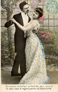 Vintage postcard sent in by Corinne Stubson, DanceCouple Vintage images from art-e-zine.co.uk