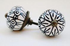 Ebony Black Hand Painted Knobs-Ceramic Knob-Drawer Pulls- Kitchen Pulls-armoire Hardware- Cabinet Pull