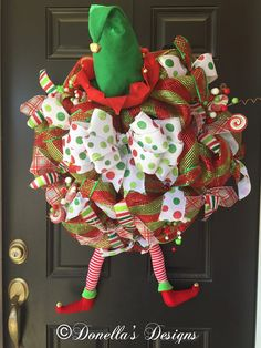 Christmas Elf wreath by DonellasWreathDesign on Etsy