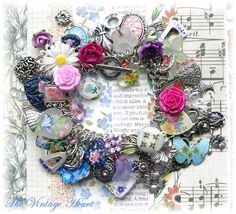 ❥ Vintage Artisan Heart Flower Charm Bracelet Painted Roses Buttons Cameos- love!!