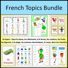 French Vocabulary Topics Bundle - Classroom, Clothing, Body, Farm, Pets, Beach, Fruit, Vegetables, Colors, Bedroom