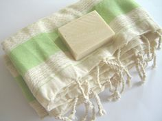 Turkish BATH towel, Soft Cotton, Peshtemal, 100% Cotton, Green