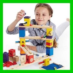 Construction, creative play, marble run, and music making - all in one Music Motion building set from Quadrilla. Manufactured by Quadrilla. Wooden Marble Run, Marble Runs, Hape Toys, All Nature, Crazy Kids, Creative Play, Wooden Puzzles, Toys Shop, Holiday Gift Guide