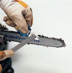 How to Sharpen a Chainsaw - Bob Vila Chainsaw Sharpening Tools, Chainsaw Sharpener, Knife Sharpening, Chainsaw Repair, Chainsaw Mill, Stihl Chainsaw, Cool Tools, Diy Tools, Yard Tools