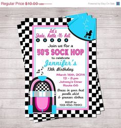 On SALE 50's Sock Hop Invitation Pink and by PaintingParisPink