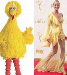 Heidi Klum's Yellow Emmy Dress Compared to Big Bird and a Swiffer