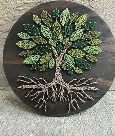 String Wall Art, Nail String Art, Tree Wall Art, String Art Templates, String Art Patterns, Art Corde, Hilograma Ideas, Art Mural, Wood Art