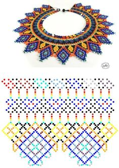 Beaded beads tutorials and patterns, beaded jewelry patterns, wzory bizuterii koralikowej, bizuteria z koralikow - wzory i tutoriale Diy Necklace Patterns, Seed Bead Patterns, Beaded Jewelry Patterns, Beading Patterns, Beaded Crafts, Beaded Collar, Seed Bead Jewelry, Beading Tutorials, Loom Beading