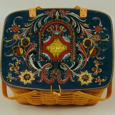Basket painted in the Agder style.  This piece received a blue ribbon in 1995.