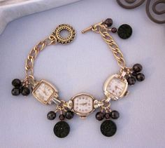 Repurposed Vintage Watch Bracelet, Garnets, Black Antique Buttons Bracelet, Gold Filled, OOAK Assemblage Jewelry  - JryenDesigns