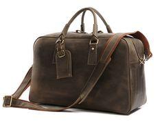 Image of Leather Weekender Travel Bag Unisex Leather Duffel Bag 7156 Travel  Luggage 90e1a1e771e28