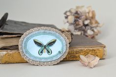 butterfly brooch  victorian  aqua and grey  pin by redstitchlab, €18.00