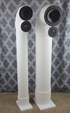 Custom Speakers - PVC pipe sewer speakers that sound great! Pvc Pipe Projects, Home Projects, Projects To Try, Pvc Pipe Fittings, Pvc Pipes, Diy Speakers, Satellite Speakers, Audiophile Speakers, Speaker Design