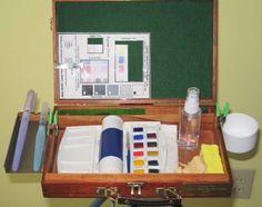 Cigar box as a watercolor pochade box