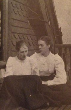 Virginia Woolf and her sister, Vanessa, 1896. English Writer Virginia Woolf became famous for her nonlinear prose style, especially noted in her novels Mrs. Dalloway and To the Lighthouse.