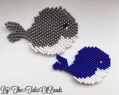 Brick stitch whales! Came across these cuties by @alaiscreations on Pinterest and realized I had to make them. The gray one was made with Preciosa Czech 10/0 beads. The blue whale was weaved with Miyuki Delicas 11/0. The difference is obvious. The blue one looks sooo much better. #brickstitch #miyukidelica #miyukiaddict #tissagemiyuki  #whale #beadedwhale #miyukibeads #бисер #beadwork #thetalesofbeads #tissageperles #tissagepeyote #preciosa #beadedcreations #kawaii #whales #adorable
