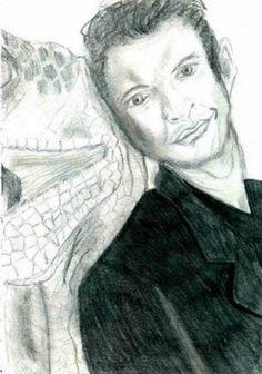 Jeff Goldblum snuggles a velociraptor Celebrity Drawings, Celebrity Portraits, Bad Fan Art, Fan Drawing, Hilarious, Snuggles, Celebrities, Star Trek, Fans