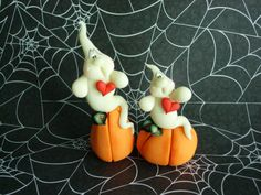 *POLYMER CLAY ~ Glow in the Dark Ghost SET - polymer clay
