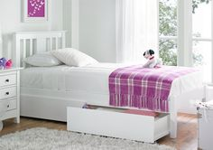 Malmo White Solo Wooden Bed Frame - Painted Wood - Wooden Beds - Beds