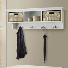 Beachcrest Home Fleming 2 Basket Storage Shelf & Reviews | Birch Lane