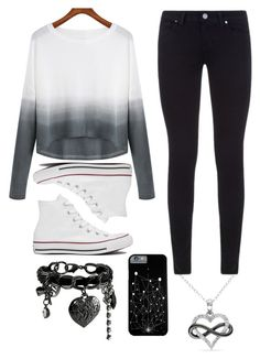 """""""Untitled #52"""" by fallinginthehorizon ❤ liked on Polyvore featuring Paige Denim, Converse, GUESS and Amour"""
