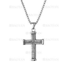 958344d986af collar fina con dije de santa cruz en acero plateado inoxidable  -SSNEG1133385