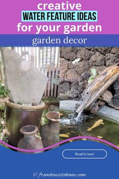 From fountains to bird baths to wall water features and DIY projects, find some water feature ideas and inspiration for your garden #fromhousetohome #gardenideas #fountain #diyprojects #landscapedesign #waterfeatures