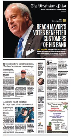 The Virginian-Pilot's front page for Saturday, Nov. 8, 2014.