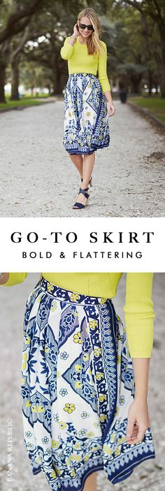Kick off summer with a boho scarf-print midi skirt and a shock of bright yellow. The easy shapes go anywhere summer takes you including every road trip, BBQ and farmer's market. Amy Jackson adds strappy sandals and she's city (and summer) ready in a flash. Shop this Banana Republic skirt now.