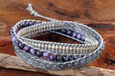 Thai Hand Knotted Quartz and Agate Wrap Bracelet - Beautiful   NOVICA