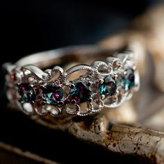 Alexandrite Like Color Change Garnet Lace Work Ring