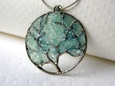 Aqua Tree Necklace, Aquamarine Pendant, Large Tree Necklace, Aquamarine Jewelry, March Birthstone on Etsy, $27.00