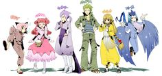 human version gijinka pokemon, clefable, blissey, mewtwo, tyranitar, ampharos, articuno