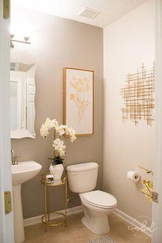 Elegant Half Bath on a Budget Bathroom Decoration guest bathroom decor Half Bath Decor, Half Bathroom Decor, Guest Bathrooms, Bathroom Interior Design, Master Bathroom, Neutral Bathroom, Bathroom Mirrors, Bathroom Lighting, Dyi Bathroom