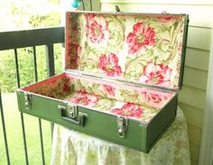 Olive Green Relined Vintage suitcase -Upcycled ,Recycle, Reuse, Repurpose.