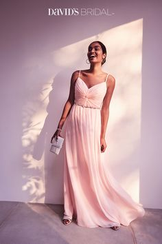 Shop styles for your wedding party today. Give your gals on-trend yet forever-in-fashion designs and everyone will be smiling down the aisle. David's Bridal's 2017 bridesmaid dresses are inspired by timeless silhouettes with updated  touches of the newest trends: Think allover lace and illusion necklines. Easily dressed up with strappy heels or dressed down with minimalist sandals, these new bridesmaid gowns go from wedding day to night on the town in an instant.