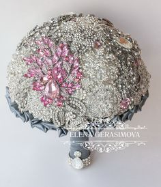 SALE Brooch Bouquet. Silver crystal Bouquet Unique by feltdaisy