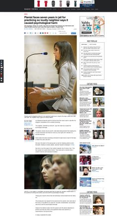 Pianist faces seven years in jail for practicing so loudly neighbor says it caused psychological harm. NOTE: She was eventually acquitted. Judge argued that the case should never had reached a criminal court. The accusing party did not appeal. Documentary Photographers, Daily News, Documentaries, Psychology, My Photos, Faces, Note, Sayings, Party
