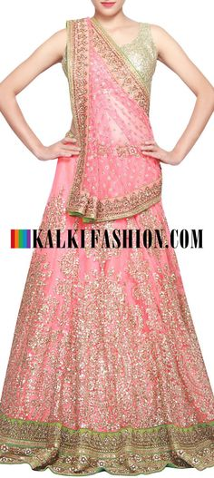 Dark peach lehenga featuring in sequence embroidery only on kalki Bollywood Stars, Bollywood Fashion, Indian Bridal Wear, Indian Wear, Ethnic Outfits, Indian Outfits, Saris, India Fashion, Asian Fashion