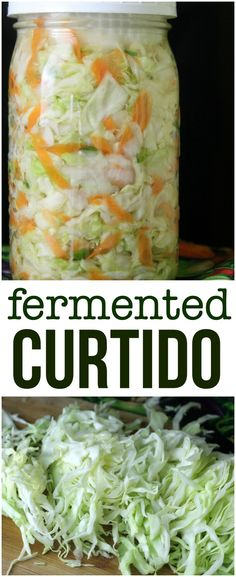 Fermented Curtido is a traditional Salvadoran spicy and tart slaw that's made from carrots, cabbage, onions, and peppers fermented in a salt brine. Fermented Curtido Recipe, Fermented Cabbage, Pickled Cabbage, Fermented Foods, Cabbage Soup, Gourmet Recipes, Mexican Food Recipes, Vegan Recipes, Fermentation Recipes