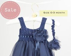 Navy Empire Waist Baby Tulle Dress with Stretch Crochet Top.Tulle dress  for girls with lacy crochet bodice.