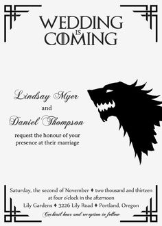 Game of Thrones Wedding Invitation Printable by pegsprints on Etsy