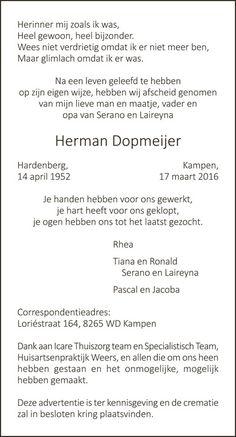 Rouwadvertentie Herman Dopmeijer - De Brug