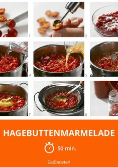 Hagebuttenmarmelade - smarter - Zeit: 50 Min. | eatsmarter.de Food Menu, A Food, Good Food, Food And Drink, Healthy Eating Tips, Healthy Nutrition, Food Network Recipes, Food Processor Recipes, Kneading Dough