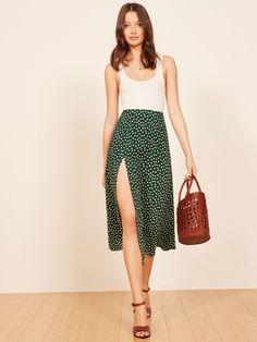 Zoe Skirt : Larger View of Product Skirt Outfits, Chic Outfits, Summer Outfits, Fashion Outfits, Pretty Outfits, Slit Skirt, Dress Skirt, Look Boho, Midi Length Skirts